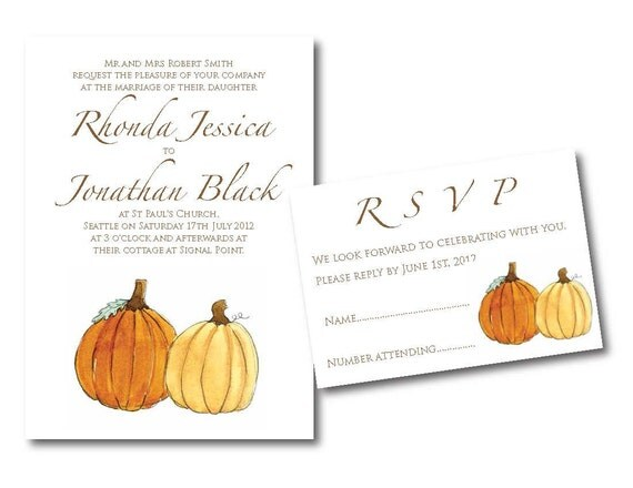 Items similar to fall pumpkin wedding invitation set on etsy for Fall wedding invitations with pumpkins