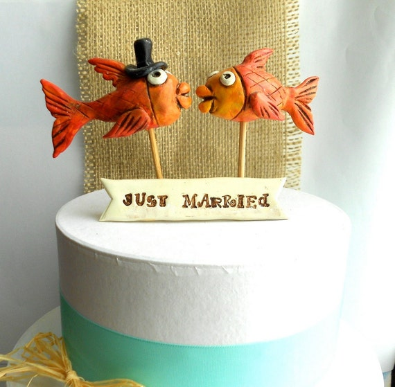 Orange Kissing Fish Folk Art  wedding cake topper