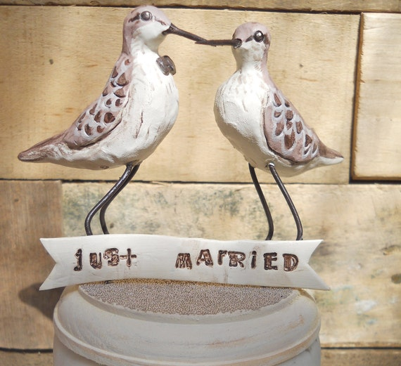 Natural Sandpipers In Love wedding cake topper for the Rustic Beach Wedding