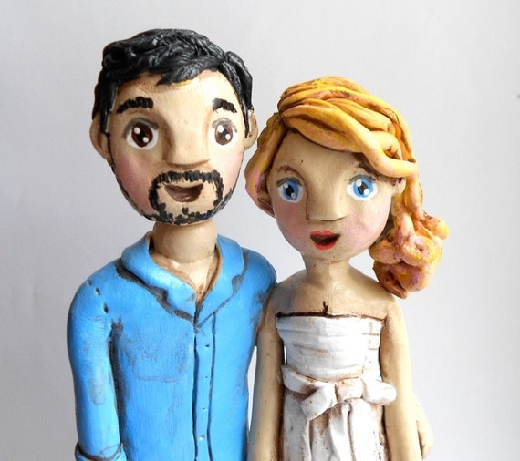 Custom Couple  wedding cake topper personalized to look like bride and groom