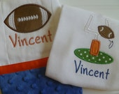 Custom Boy's Football  one piece  and Burp Cloth Gift Set,CHOOSE COLORS Personalized with Minky Handmade By Jennifer Noel Designs