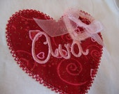 Valentine Onesie, girls, red and bright pink heart, with name and matching bow