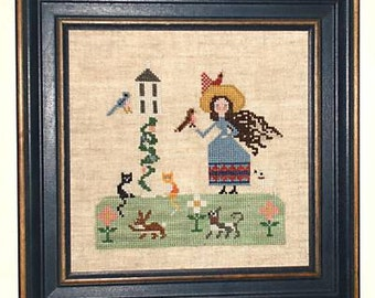 A Country Menagerie / Folk Art Lady and Her Pets