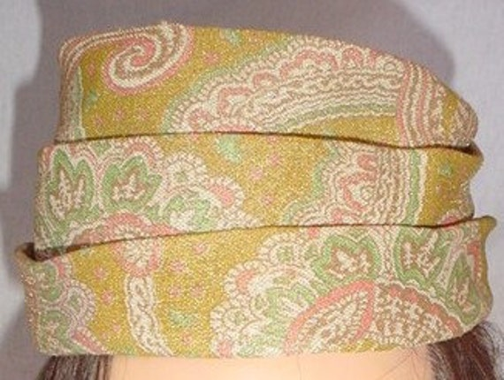 Adorable Gold Metallic Vintage Paisley Pill Box Hat