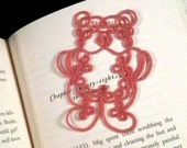 Tatted Teddy Bear for Applique, Scrapbooking, Card Making, or as a Bookmark, Pink