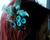 Teal and Chocolate Paper Flower Feather Hair Clip