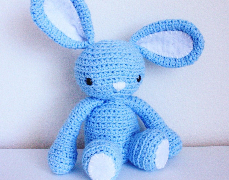 Blue Bunny Amigurumi Doll