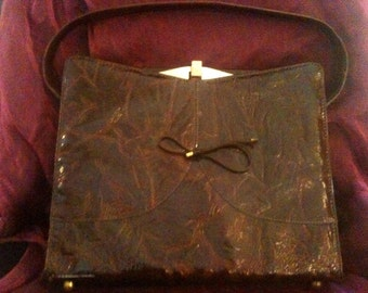 Vintage brown purse with bow by Naturalizer