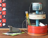 3-Tier Desk Organizer Caddy from Vintage Metal Tin Canisters