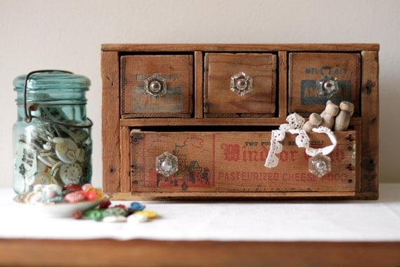 Multi Drawer Craft Supply Desk Organizer from Vintage Cheese Boxes and Crates