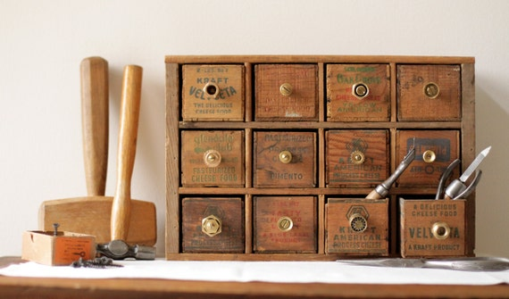 Multi Drawer Tool and Hardware Desk Organizer from Vintage Cheese Boxes and Crates