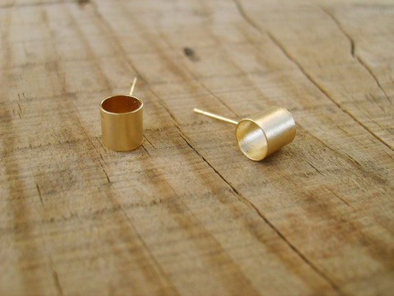 Handmade tubular small gold Stud earrings ( matte-gold plated 24K), gold stud earrings