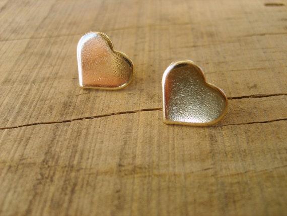 Gold heart studs, heart studs earrings in gold, gold studs