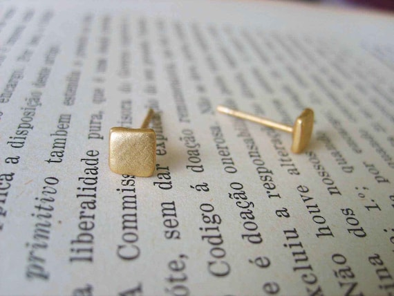 Lovely little Square gold studs earrings, handmade (gold plated 24K), gold stud earrings