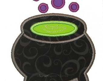 Instant Download Witch's Cauldron Machine Embroidery Applique Design 4x4, 5x7 and 6x10