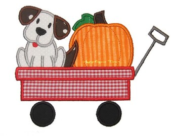 Instant Download Puppy and Pumpkin in a Wagon Machine Embroidery Applique Design 5x7 and 6x10