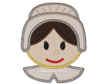 Instant Download Girl Pilgrim Machine Embroidery Applique Design 4x4, 5x7 and 6x10