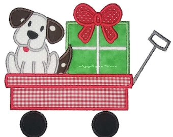 Instant Download Puppy and Present in a Wagon Machine Embroidery Applique Design 5x7 and 6x10