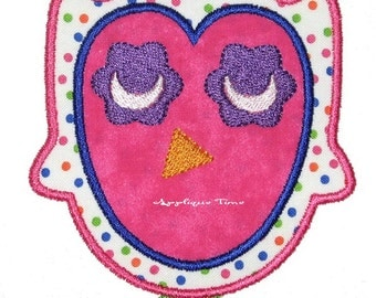 Instant Download Two Sleepy Time Owls Machine Embroidery Applique Design 4x4, 5x7 and 6x10