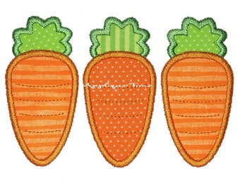Instant Download Carrot Trio Machine Embroidery Applique Design 4x4, 5x7 and 6x10