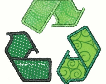 Instant Download Recycle Machine Embroidery Applique Design 4x4, 5x7 and 6x10