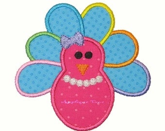Instant Download Girl Turkey Machine Embroidery Applique Design 4x4, 5x7 and 6x10