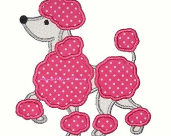 Instant Download Poodle Machine Embroidery Applique Design 5x7 and 6x10