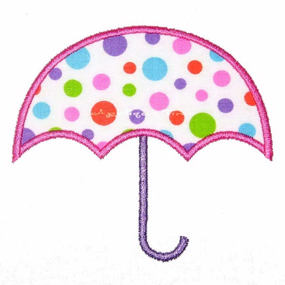 Instant download umbrella machine embroidery applique design