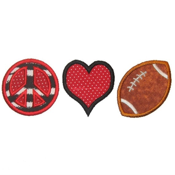 Instant Download Peace, Love & Football Machine Embroidery Applique Design 4x4, 5x7 and 6x10