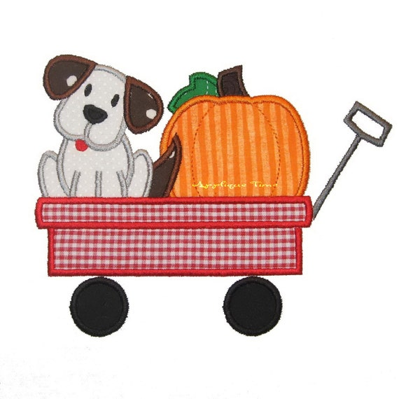 Puppy and Pumpkin in a Wagon Machine Embroidery Applique Design 5x7 and 6x10