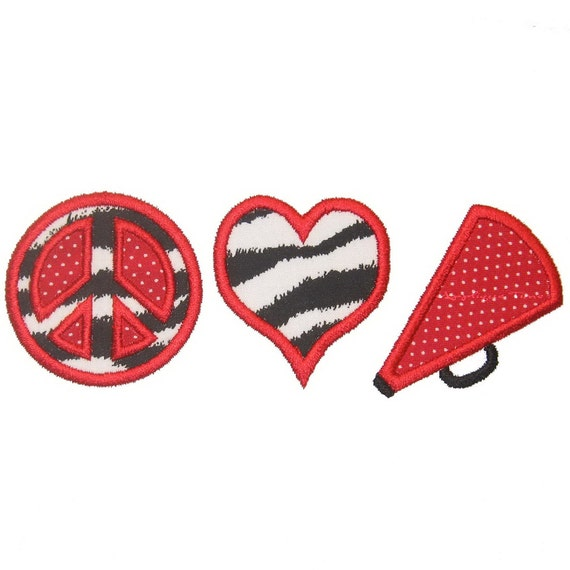 Instant Download Peace, Love & Cheer Machine Embroidery Applique Design 4x4, 5x7 and 6x10