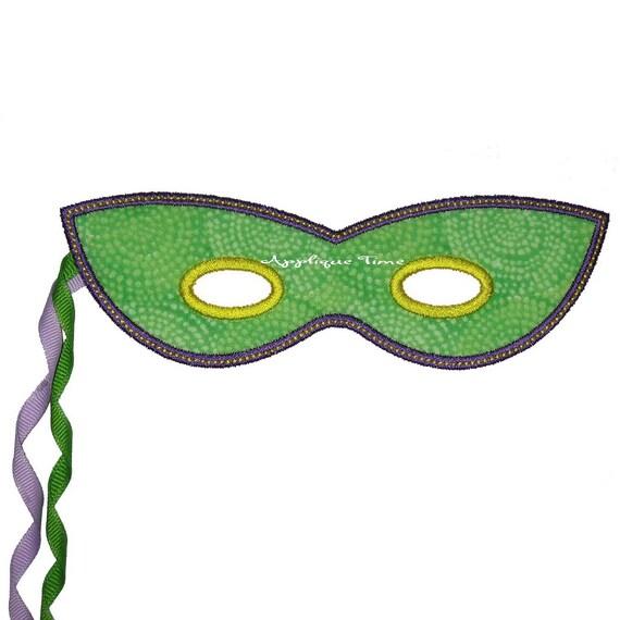 Instant Download Mardi Gras Masquerade Mask Machine Embroidery Applique Design 4x4, 5x7 and 6x10