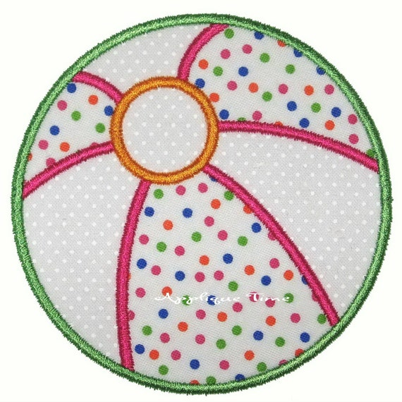 Instant Download Beach Ball Machine Embroidery Applique Design 4x4, 5x7 and 6x10
