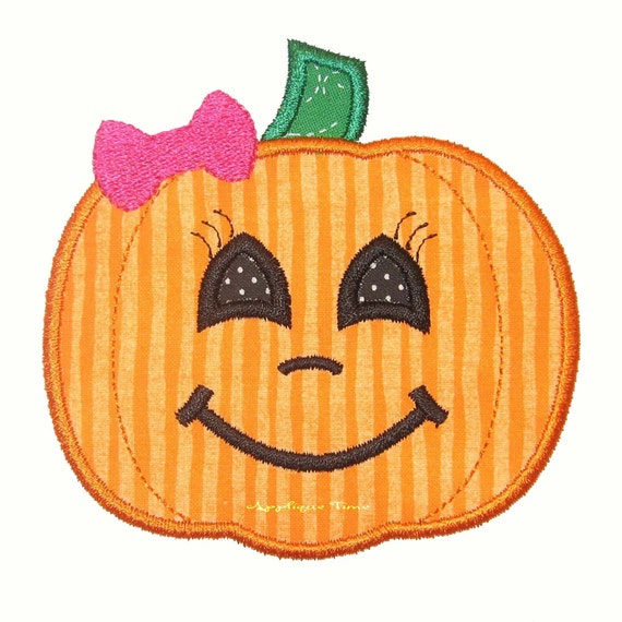 Instant Download Girly Pumpkin Machine Embroidery Applique Design 4x4, 5x7 and 6x10
