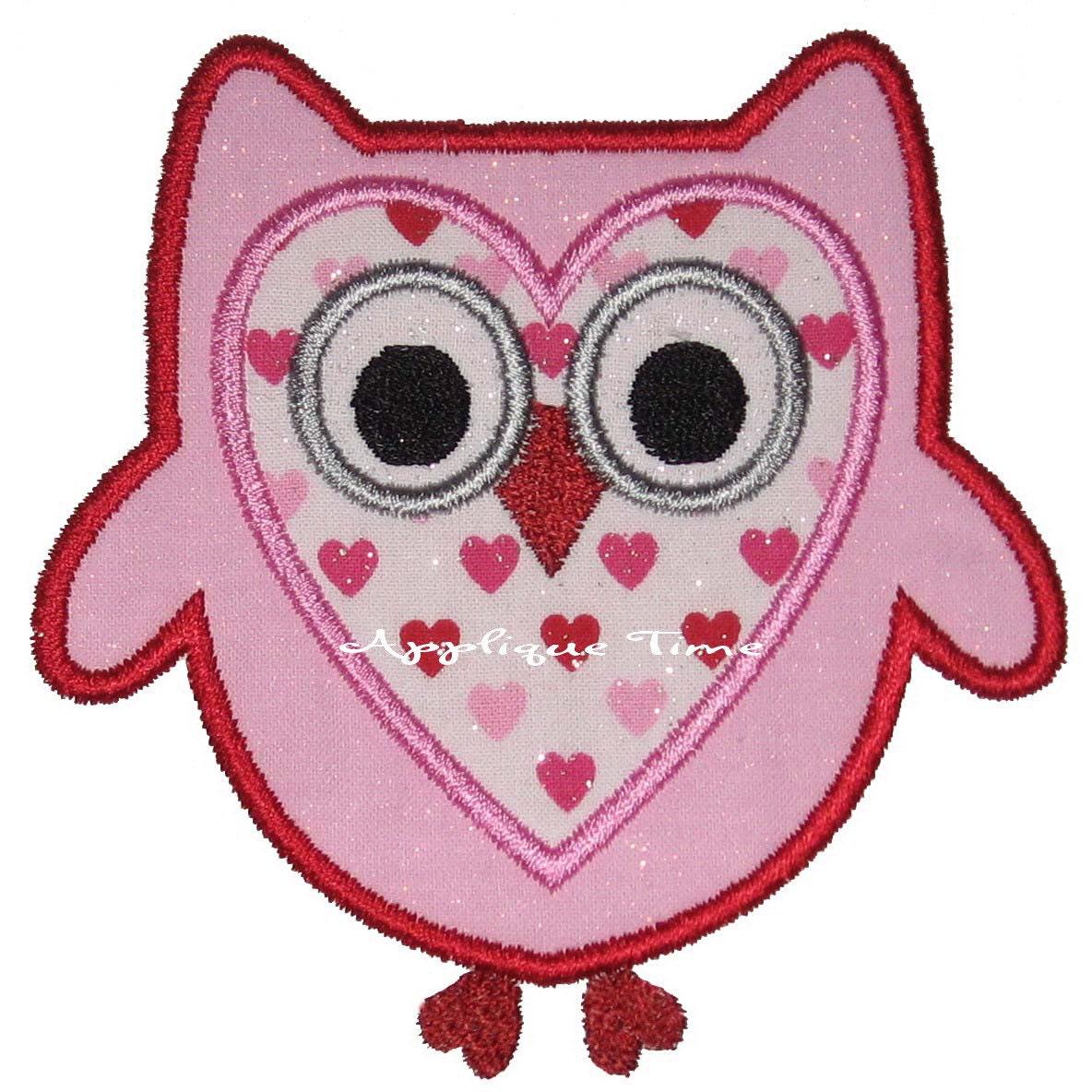 Valentine owl machine embroidery applique design and