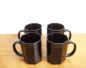 Black Arcoroc Octime Mugs