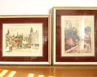 Vintage Paris Watercolors, Cityscapes, France
