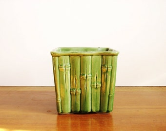 Green Faux Bamboo Planter, Vintage Pottery