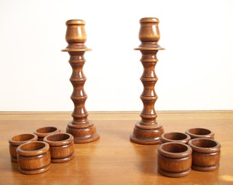 Vintage Wooden Candlesticks and Napkins Rings, Faux Bamboo