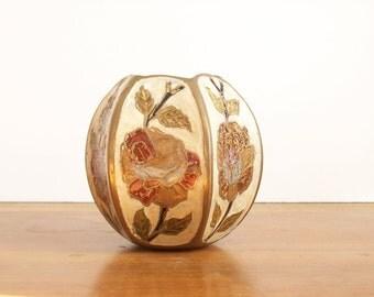 Cloisonnee Vase, Brass and Enamel, Vintage, Octagonal, Chinoiserie Vase