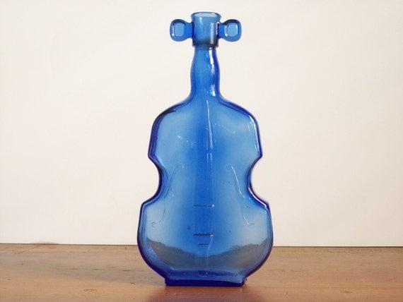 Vintage Cobalt Blue Bottle - Figural - Violin