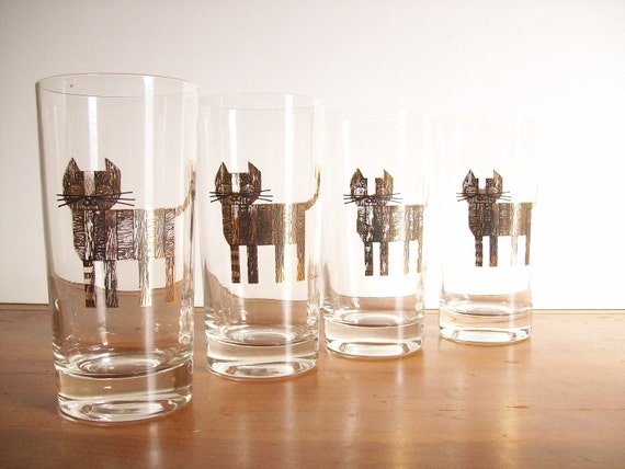 Midcentury Glassware, Couroc, Cats