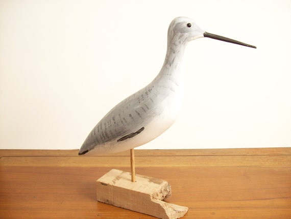 Carved Driftwood Sandpiper Seagull - Bird Figurine