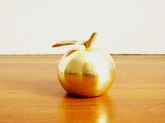 Brass Apple Bell, Vintage Figurine