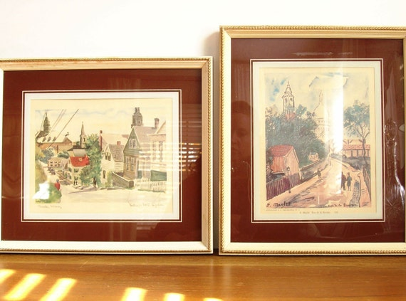 Vintage Paris Watercolors, Cityscapes, France