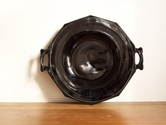 Black Milk Glass Serving Tray or Cake Plate