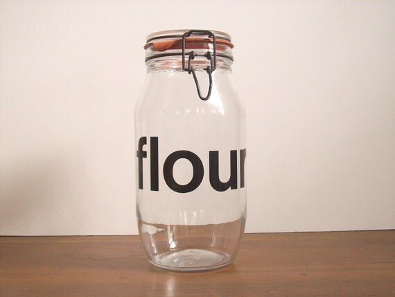 Vintage Typography French FLOUR Jar, Helvetica, Canister
