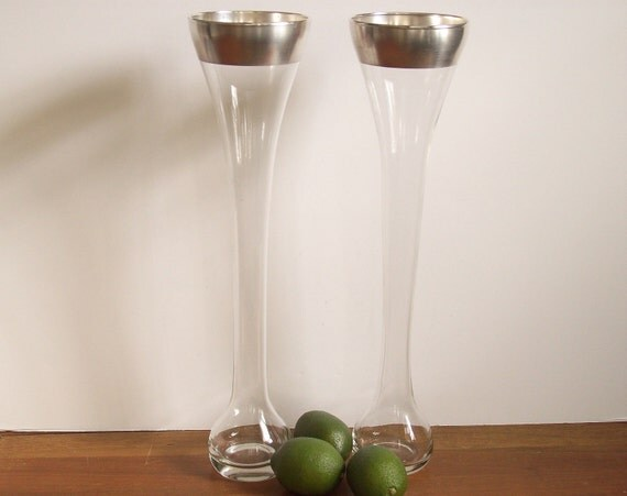 Silver Band Vases, Set of Two, Dorothy Thorpe, Mad Men Decor