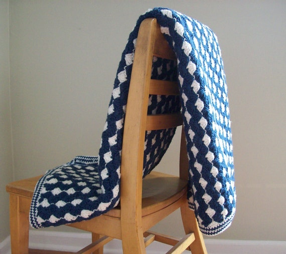Vintage Crocheted Blanket, Navy and White, Nautical, Afghan