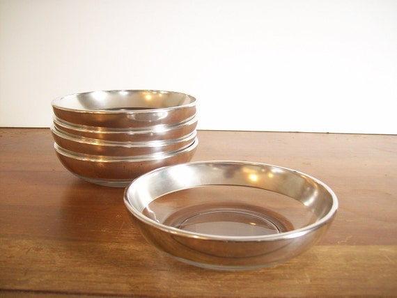 Silver Band Dessert or Fruit Bowls, Dorothy Thorpe Style
